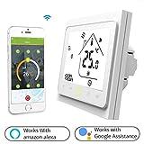 Termostato WiFi per Caldaia a Gas/Acqua,Termostato intelligente Schermo LCD(TN schermo) Touch Button Retroilluminato Programmabile con Alexa Google Home e Telefono APP-Bianco